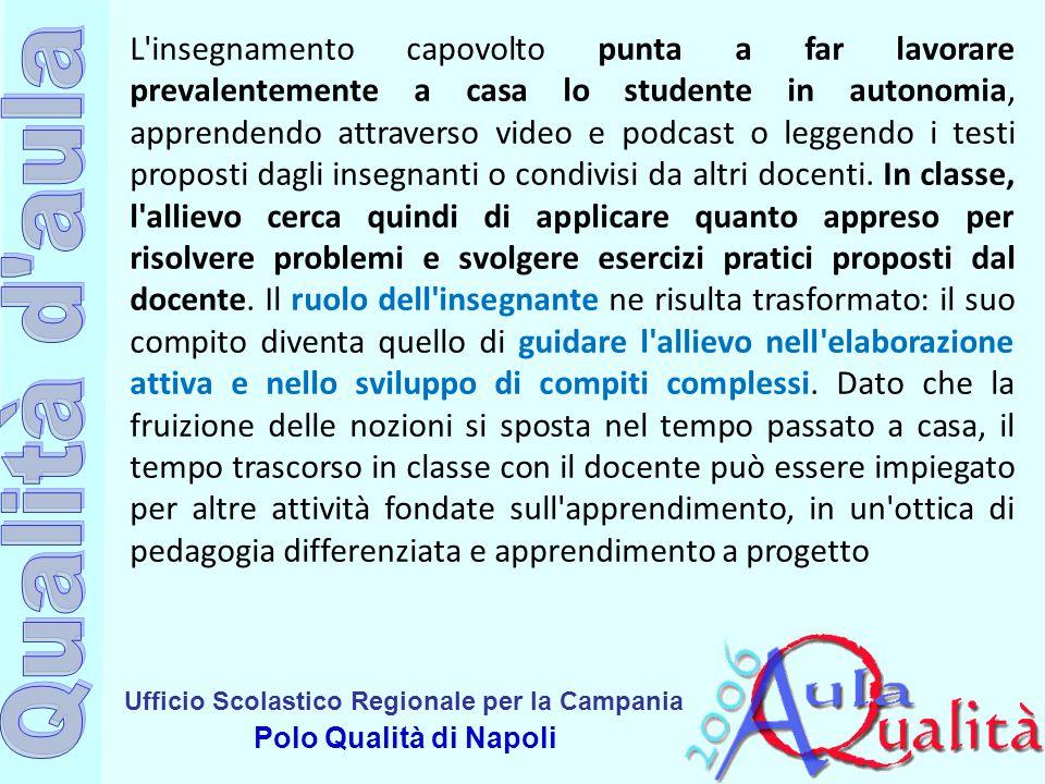 Ufficio Scolastico Regionale per la Campania Polo Qualità di Napoli L'insegnamento capovolto punta a far lavorare prevalentemente a casa lo studente i