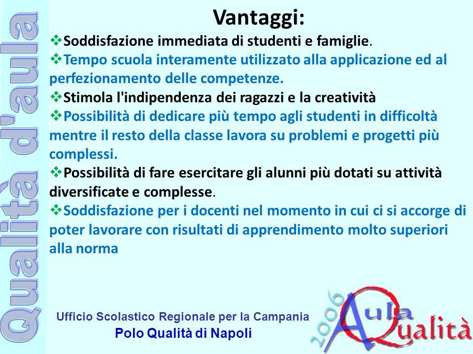 Ufficio Scolastico Regionale per la Campania Polo Qualità di Napoli Vantaggi:  Soddisfazione immediata di studenti e famiglie.  Tempo scuola interam
