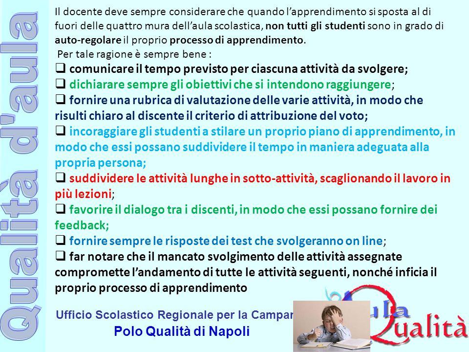 Ufficio Scolastico Regionale per la Campania Polo Qualità di Napoli Il docente deve sempre considerare che quando l'apprendimento si sposta al di fuor