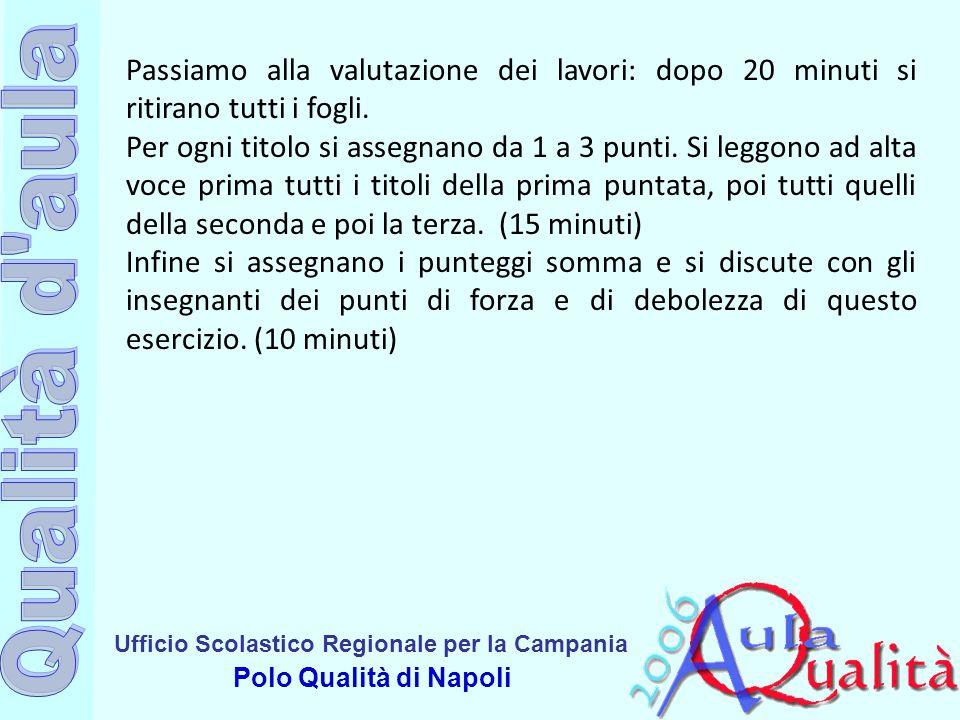 Ufficio Scolastico Regionale per la Campania Polo Qualità di Napoli Passiamo alla valutazione dei lavori: dopo 20 minuti si ritirano tutti i fogli. Pe