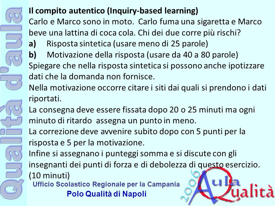 Ufficio Scolastico Regionale per la Campania Polo Qualità di Napoli Il compito autentico (Inquiry-based learning) Carlo e Marco sono in moto. Carlo fu