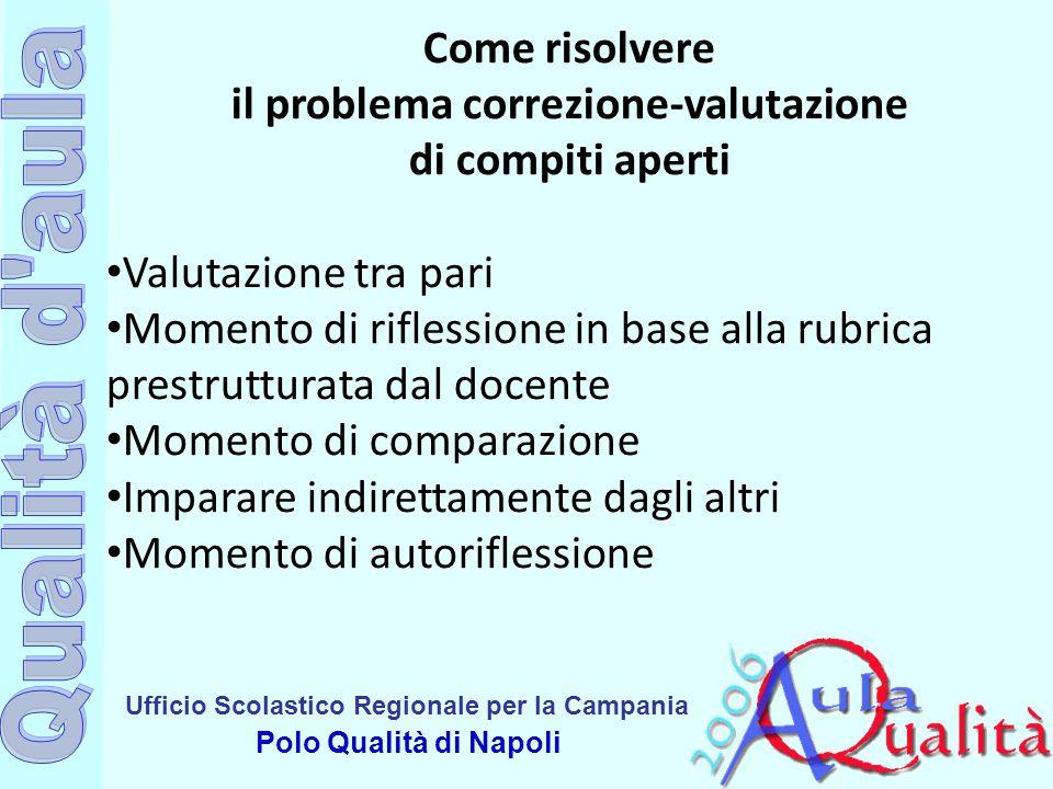 Ufficio Scolastico Regionale per la Campania Polo Qualità di Napoli Come risolvere il problema correzione-valutazione di compiti aperti Valutazione tr