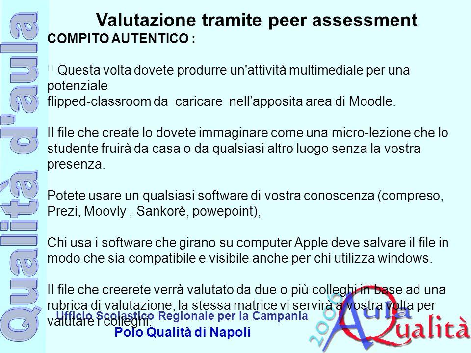 Ufficio Scolastico Regionale per la Campania Polo Qualità di Napoli Valutazione tramite peer assessment COMPITO AUTENTICO : š Questa volta dovete prod