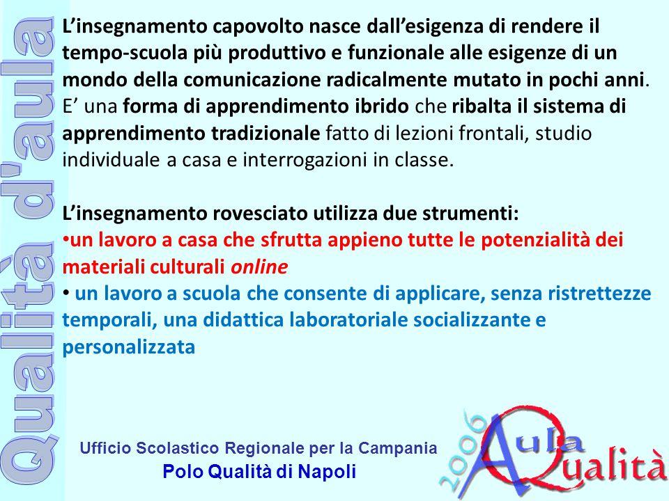 Ufficio Scolastico Regionale per la Campania Polo Qualità di Napoli L'insegnamento capovolto nasce dall'esigenza di rendere il tempo-scuola più produt