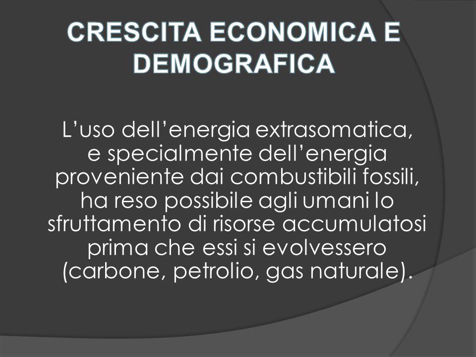 L'uso dell'energia extrasomatica, e specialmente dell'energia proveniente dai combustibili fossili, ha reso possibile agli umani lo sfruttamento di risorse accumulatosi prima che essi si evolvessero (carbone, petrolio, gas naturale).