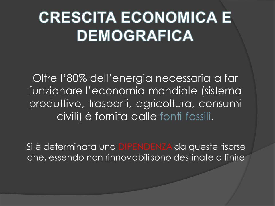 Oltre l'80% dell'energia necessaria a far funzionare l'economia mondiale (sistema produttivo, trasporti, agricoltura, consumi fonti fossili.