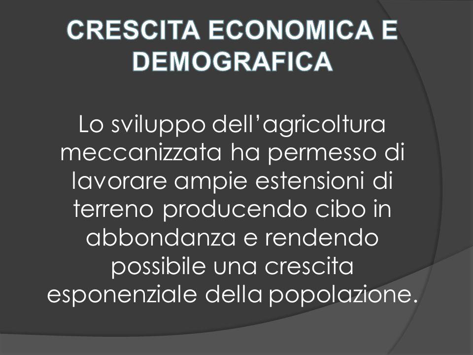 Lo sviluppo dell'agricoltura meccanizzata ha permesso di lavorare ampie estensioni di terreno producendo cibo in abbondanza e rendendo possibile una crescita esponenziale della popolazione.