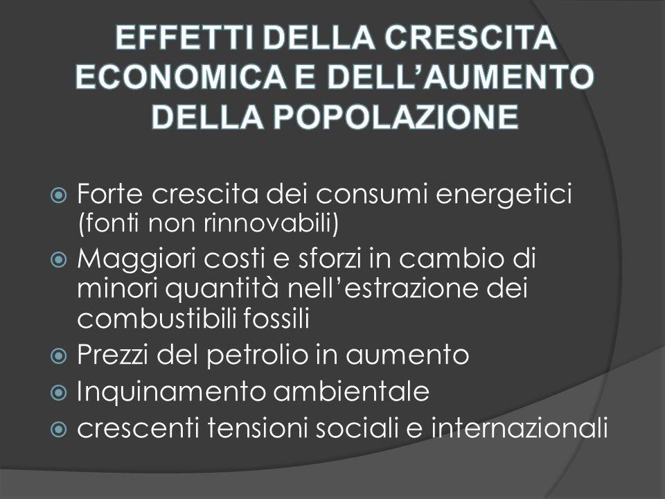  Forte crescita dei consumi energetici (fonti non rinnovabili)  Maggiori costi e sforzi in cambio di minori quantità nell'estrazione dei combustibili fossili  Prezzi del petrolio in aumento  Inquinamento ambientale  crescenti tensioni sociali e internazionali