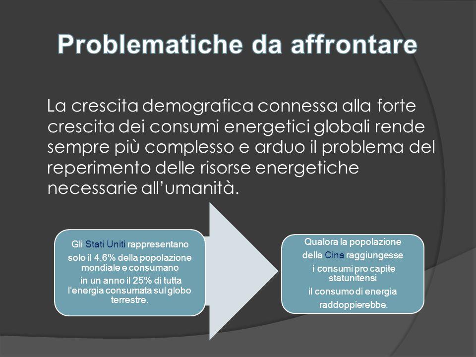 La crescita demografica connessa alla forte crescita dei consumi energetici globali rende sempre più complesso e arduo il problema del reperimento del
