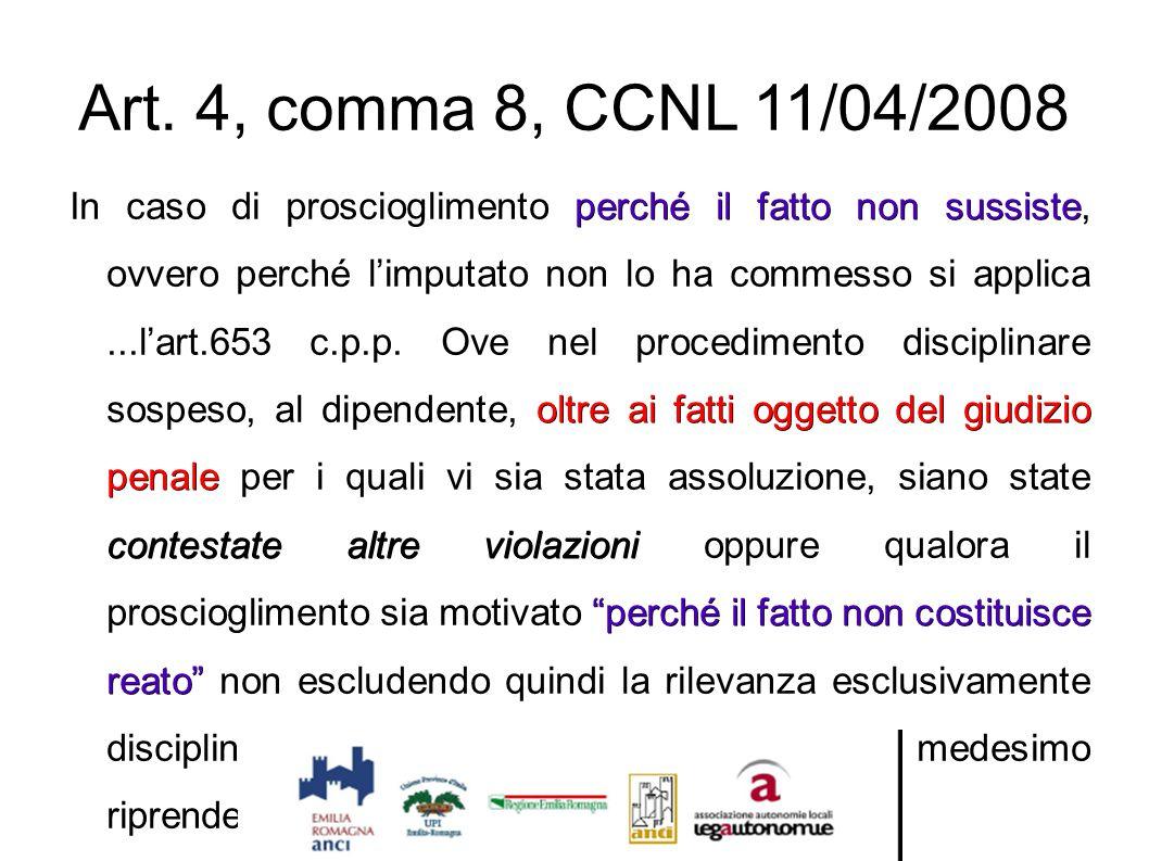 """Art. 4, comma 8, CCNL 11/04/2008 perché il fatto non sussiste oltre ai fatti oggetto del giudizio penale contestate altre violazioni """"perché il fatto"""