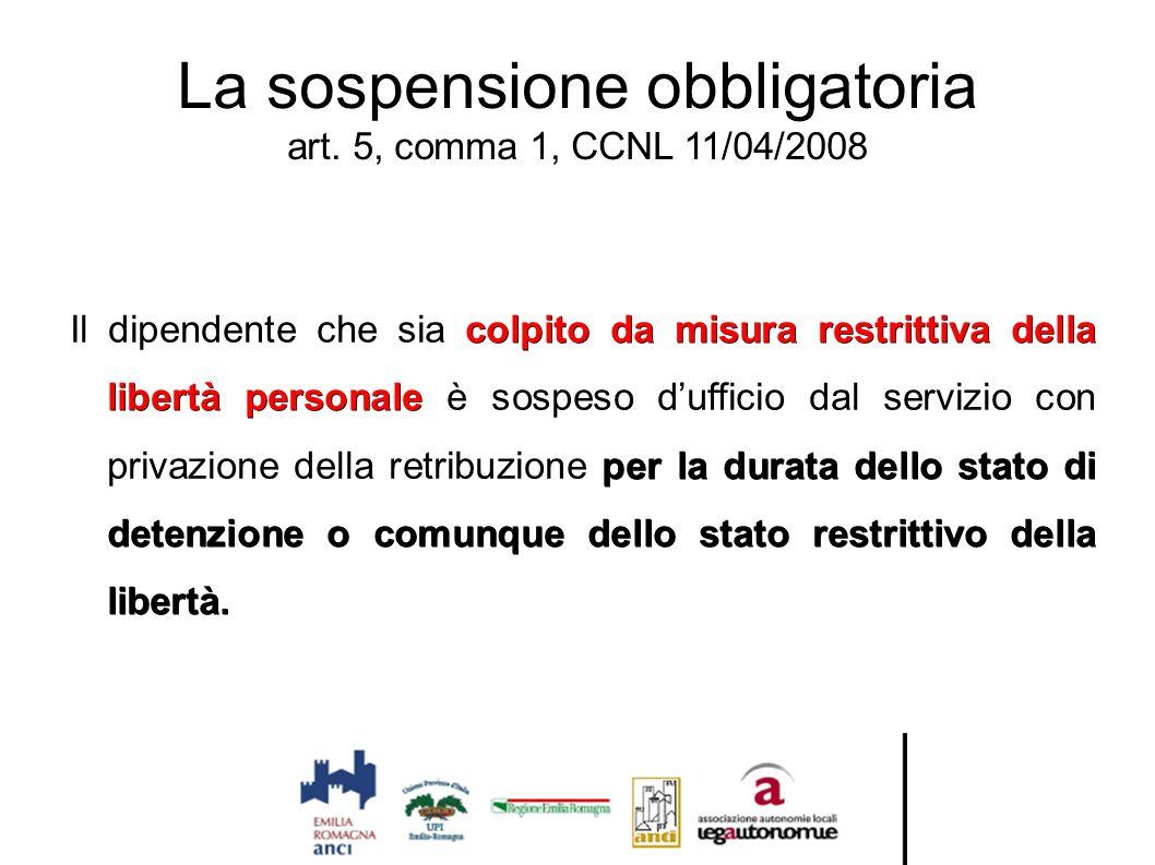 La sospensione obbligatoria art. 5, comma 1, CCNL 11/04/2008 colpito da misura restrittiva della libertà personale per la durata dello stato di detenz