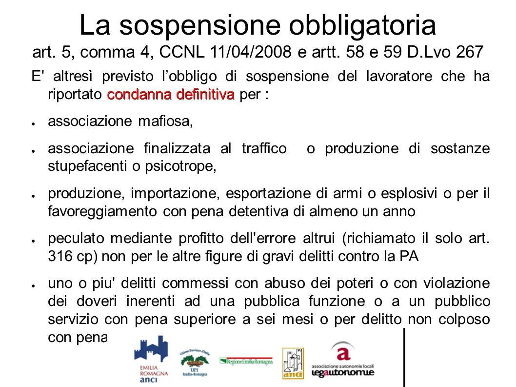 La sospensione obbligatoria art. 5, comma 4, CCNL 11/04/2008 e artt. 58 e 59 D.Lvo 267 condanna definitiva E' altresì previsto l'obbligo di sospension