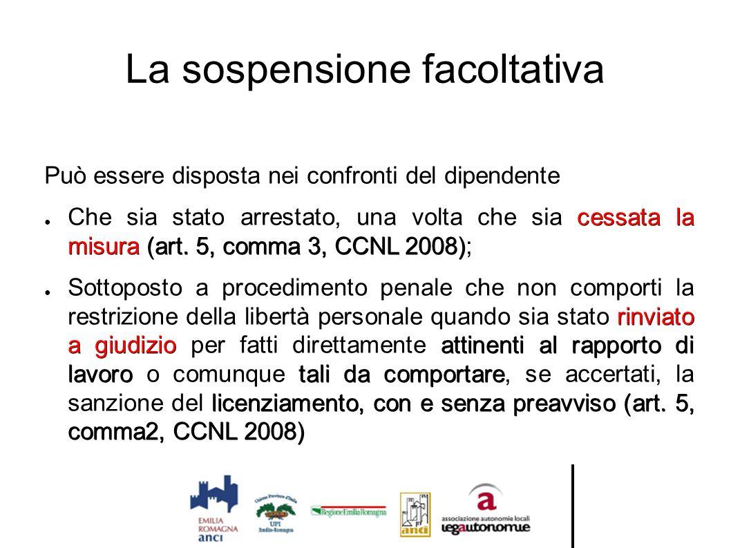 La sospensione facoltativa Può essere disposta nei confronti del dipendente cessata la misura (art. 5, comma 3, CCNL 2008) ● Che sia stato arrestato,