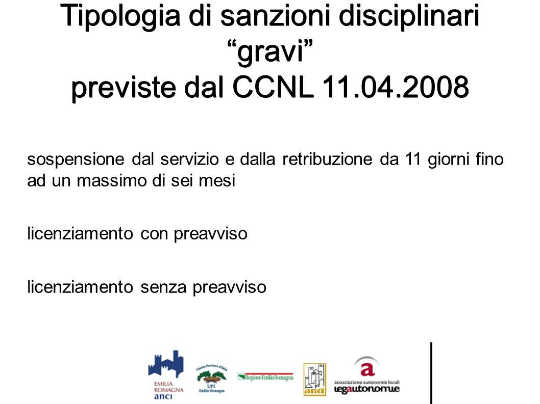 """Tipologia di sanzioni disciplinari """"gravi"""" previste dal CCNL 11.04.2008 sospensione dal servizio e dalla retribuzione da 11 giorni fino ad un massimo"""