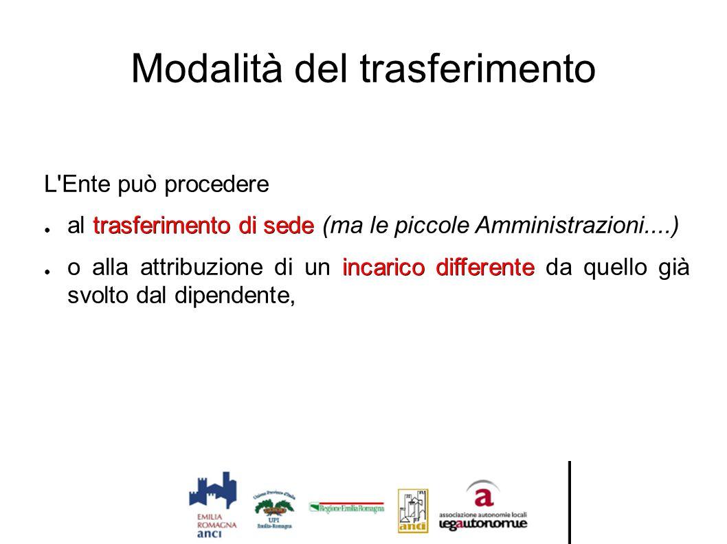 Modalità del trasferimento L'Ente può procedere trasferimento di sede ● al trasferimento di sede (ma le piccole Amministrazioni....) incarico differen