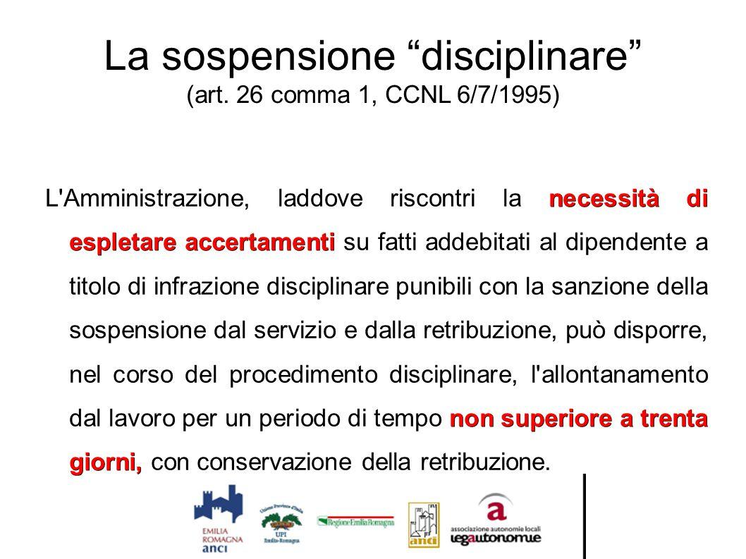 """La sospensione """"disciplinare"""" (art. 26 comma 1, CCNL 6/7/1995) necessità di espletare accertamenti non superiore a trenta giorni, L'Amministrazione, l"""
