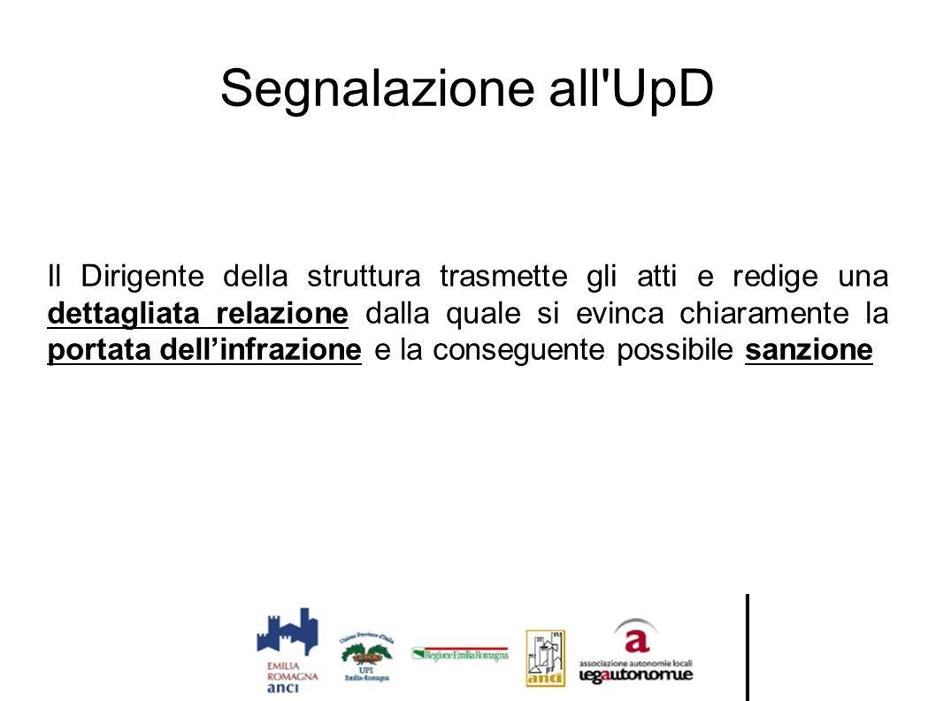 Segnalazione all'UpD Il Dirigente della struttura trasmette gli atti e redige una dettagliata relazione dalla quale si evinca chiaramente la portata d