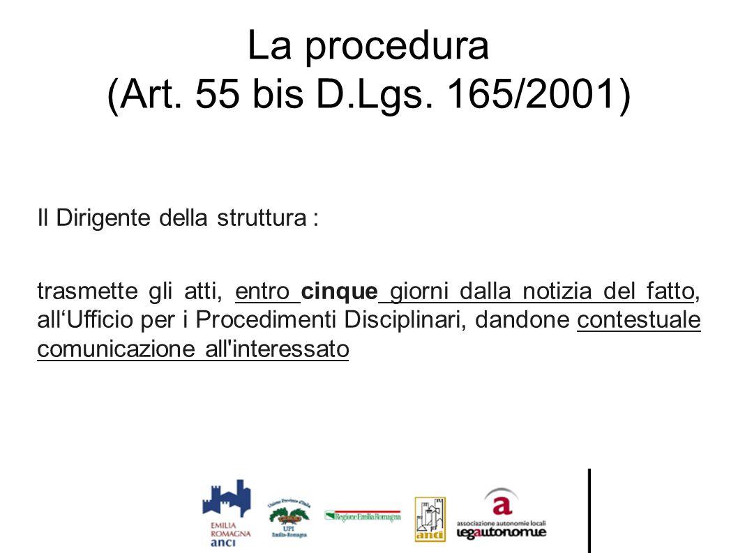 La procedura (Art. 55 bis D.Lgs. 165/2001) Il Dirigente della struttura : trasmette gli atti, entro cinque giorni dalla notizia del fatto, all'Ufficio
