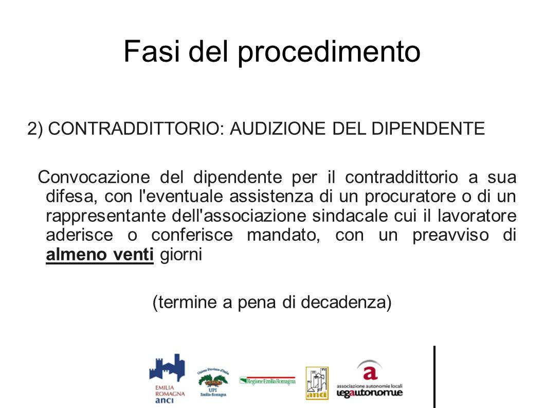 Fasi del procedimento 2) CONTRADDITTORIO: AUDIZIONE DEL DIPENDENTE Convocazione del dipendente per il contraddittorio a sua difesa, con l'eventuale as