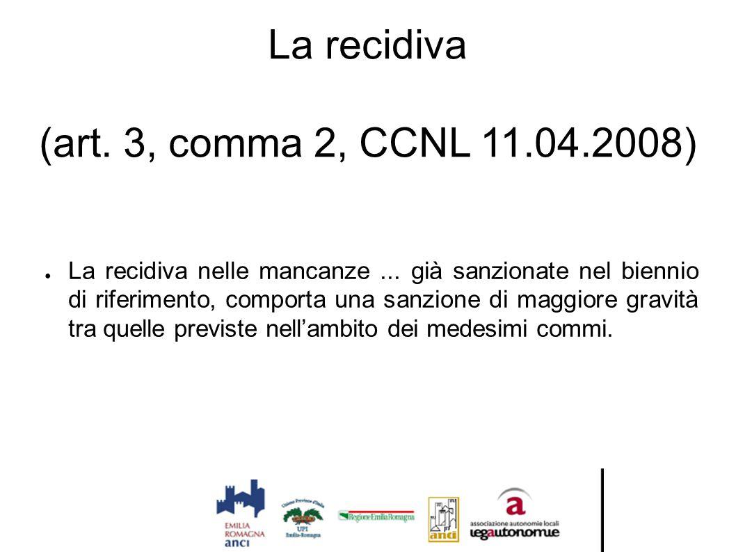 La recidiva (art. 3, comma 2, CCNL 11.04.2008) ● La recidiva nelle mancanze... già sanzionate nel biennio di riferimento, comporta una sanzione di mag