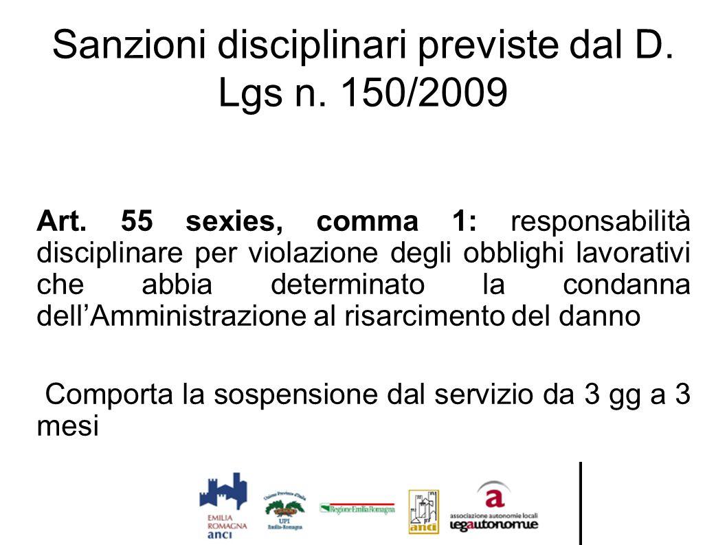 Sanzioni disciplinari previste dal D. Lgs n. 150/2009 Art. 55 sexies, comma 1: responsabilità disciplinare per violazione degli obblighi lavorativi ch