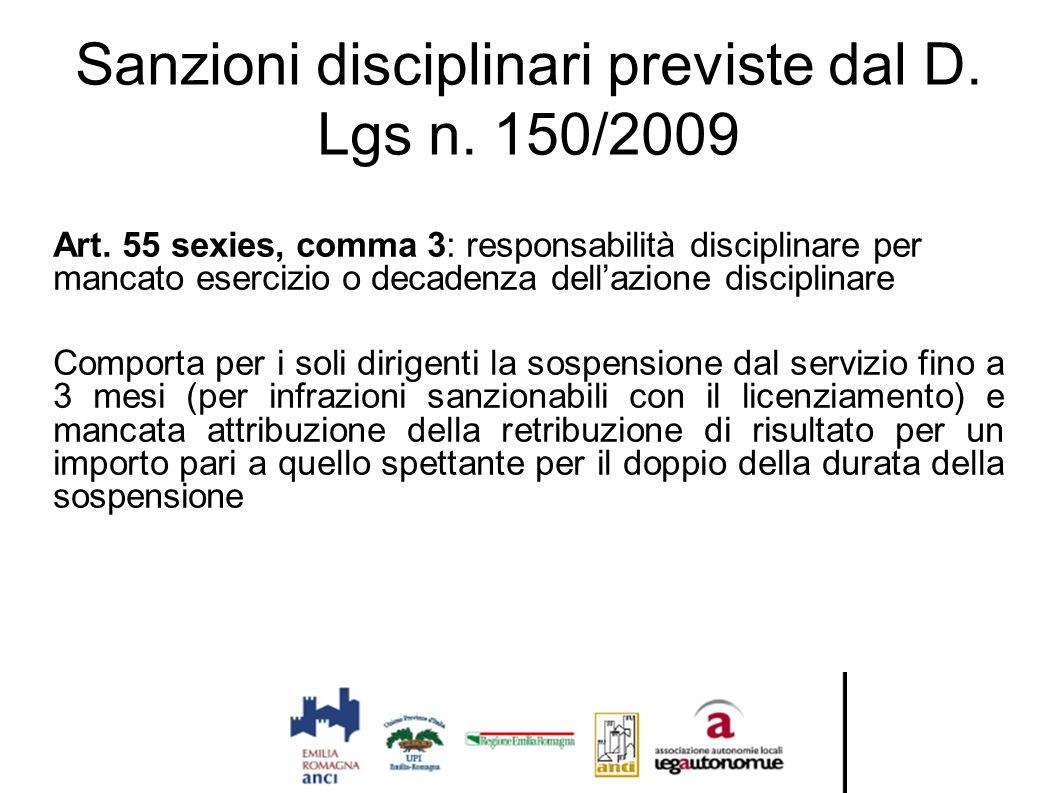 Sanzioni disciplinari previste dal D. Lgs n. 150/2009 Art. 55 sexies, comma 3: responsabilità disciplinare per mancato esercizio o decadenza dell'azio