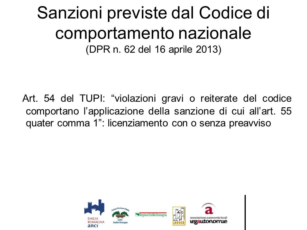 """Sanzioni previste dal Codice di comportamento nazionale (DPR n. 62 del 16 aprile 2013) Art. 54 del TUPI: """"violazioni gravi o reiterate del codice comp"""