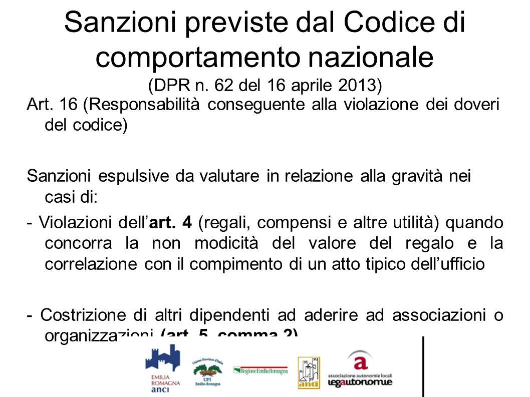 Sanzioni previste dal Codice di comportamento nazionale (DPR n. 62 del 16 aprile 2013) Art. 16 (Responsabilità conseguente alla violazione dei doveri