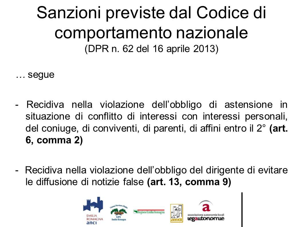 Sanzioni previste dal Codice di comportamento nazionale (DPR n. 62 del 16 aprile 2013) … segue - Recidiva nella violazione dell'obbligo di astensione