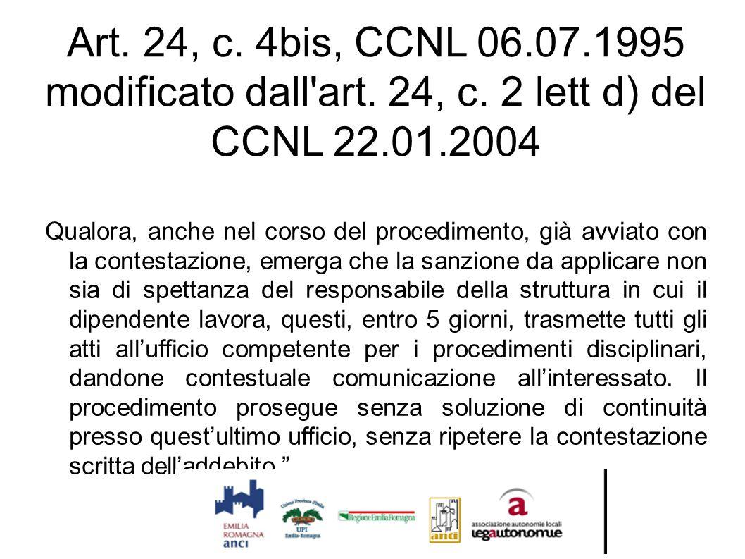 Art. 24, c. 4bis, CCNL 06.07.1995 modificato dall'art. 24, c. 2 lett d) del CCNL 22.01.2004 Qualora, anche nel corso del procedimento, già avviato con