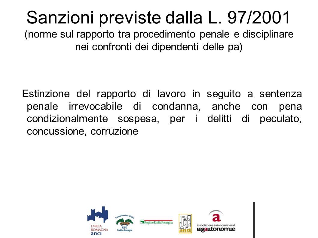 Sanzioni previste dalla L. 97/2001 (norme sul rapporto tra procedimento penale e disciplinare nei confronti dei dipendenti delle pa) Estinzione del ra