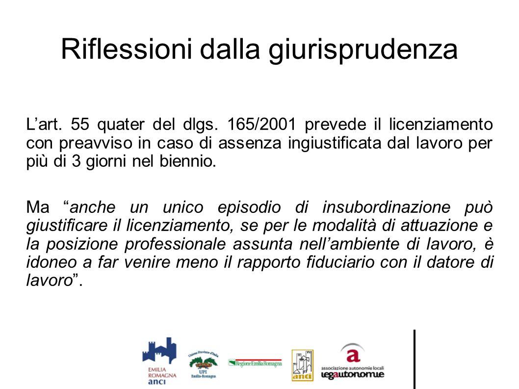 Riflessioni dalla giurisprudenza L'art. 55 quater del dlgs. 165/2001 prevede il licenziamento con preavviso in caso di assenza ingiustificata dal lavo