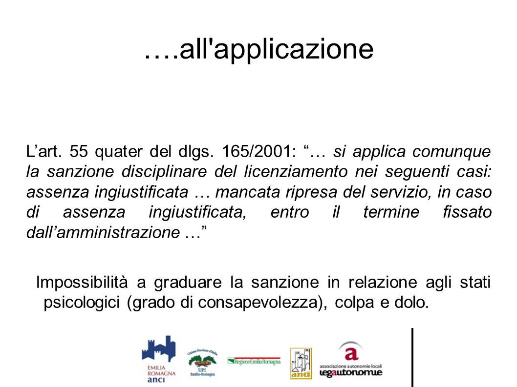 """….all'applicazione L'art. 55 quater del dlgs. 165/2001: """"… si applica comunque la sanzione disciplinare del licenziamento nei seguenti casi: assenza i"""