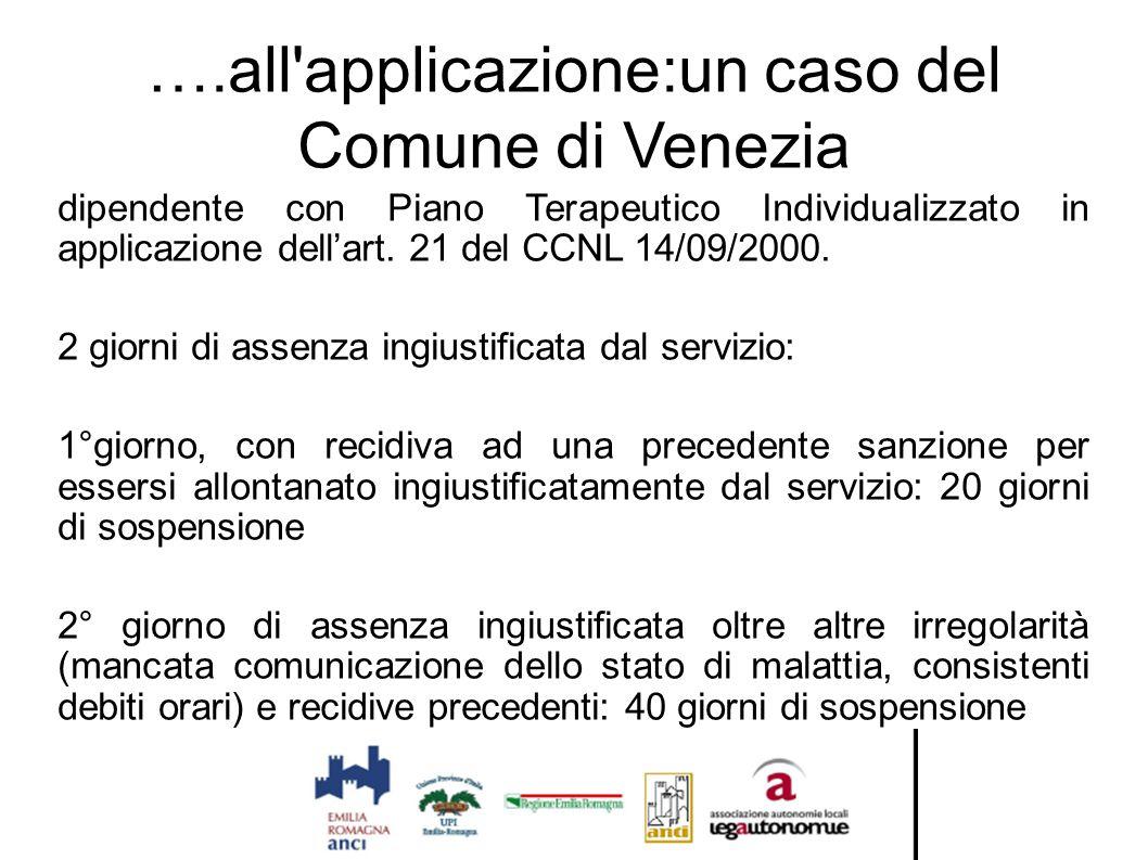 ….all'applicazione:un caso del Comune di Venezia dipendente con Piano Terapeutico Individualizzato in applicazione dell'art. 21 del CCNL 14/09/2000. 2