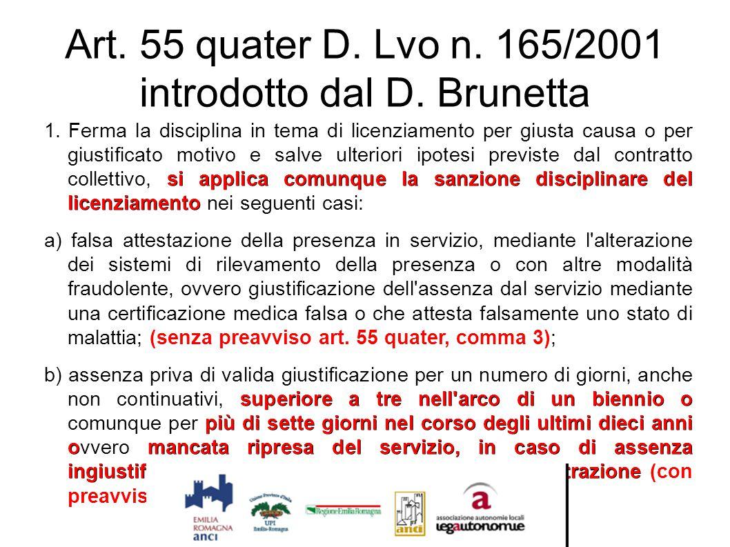 Art. 55 quater D. Lvo n. 165/2001 introdotto dal D. Brunetta si applica comunque la sanzione disciplinare del licenziamento 1. Ferma la disciplina in