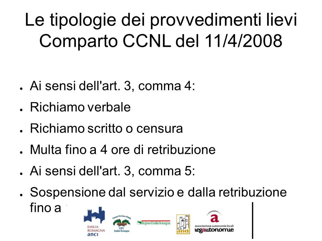 Le tipologie dei provvedimenti lievi Comparto CCNL del 11/4/2008 ● Ai sensi dell'art. 3, comma 4: ● Richiamo verbale ● Richiamo scritto o censura ● Mu
