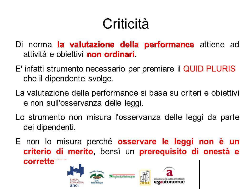 Criticità la valutazione della performance non ordinari Di norma la valutazione della performance attiene ad attività e obiettivi non ordinari. E' inf