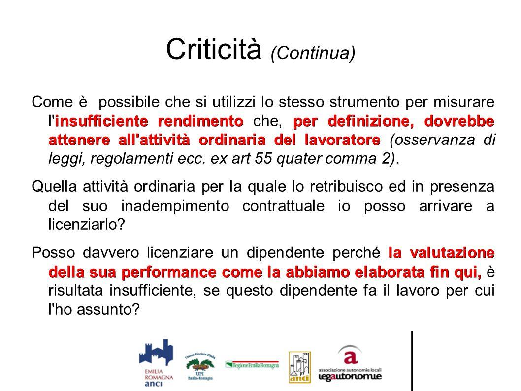 Criticità (Continua) insufficiente rendimentoper definizione, dovrebbe attenere all'attività ordinaria del lavoratore Come è possibile che si utilizzi