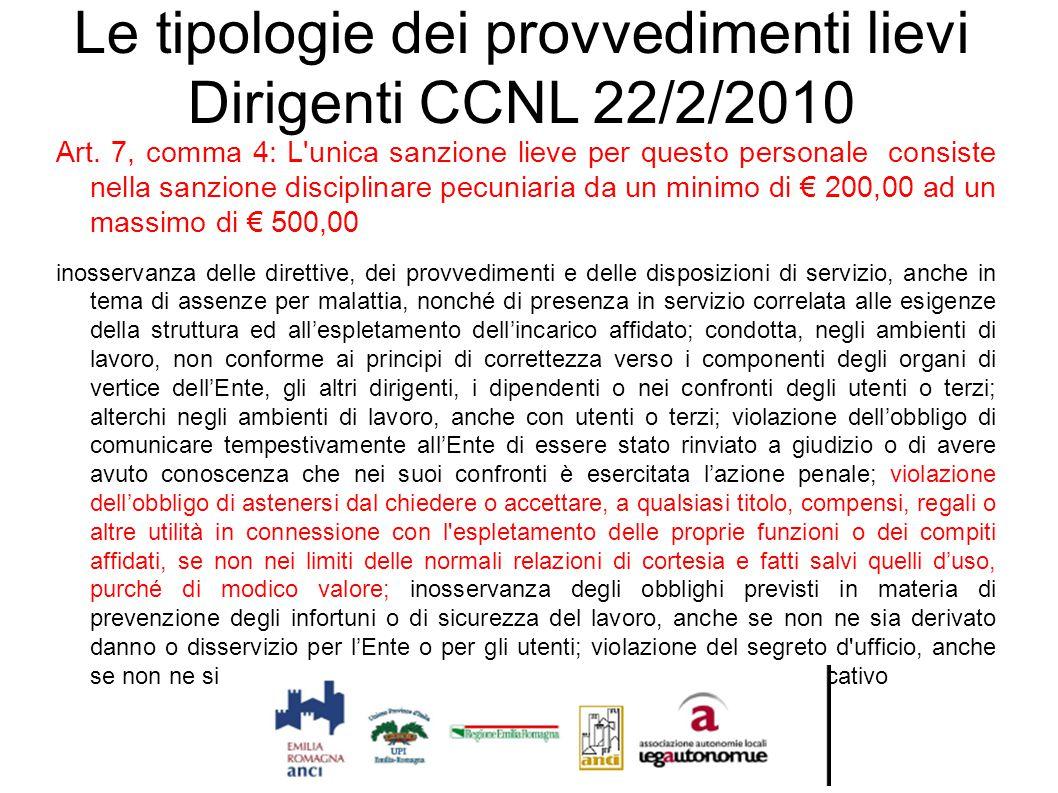 Le tipologie dei provvedimenti lievi Dirigenti CCNL 22/2/2010 Art. 7, comma 4: L'unica sanzione lieve per questo personale consiste nella sanzione dis