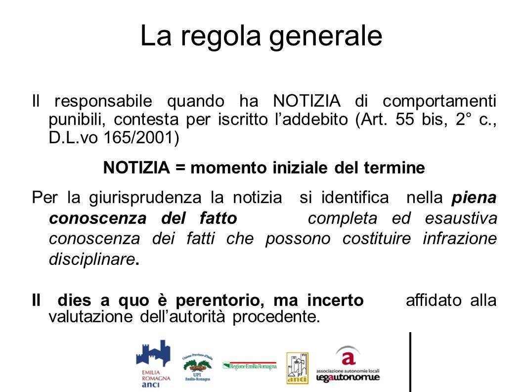 La regola generale Il responsabile quando ha NOTIZIA di comportamenti punibili, contesta per iscritto l'addebito (Art. 55 bis, 2° c., D.L.vo 165/2001)