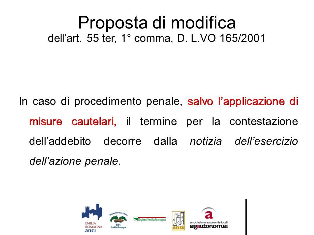 Proposta di modifica dell'art. 55 ter, 1° comma, D. L.VO 165/2001 salvo l'applicazione di misure cautelari, In caso di procedimento penale, salvo l'ap