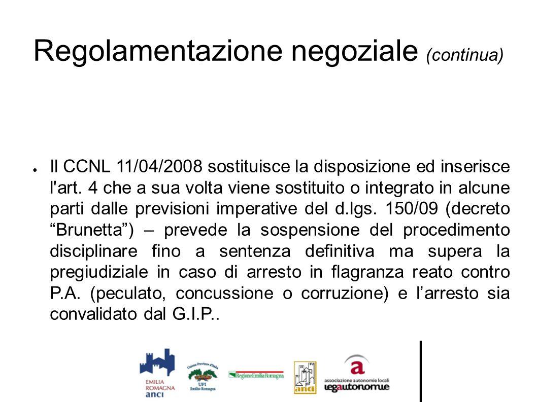 Regolamentazione negoziale (continua) ● Il CCNL 11/04/2008 sostituisce la disposizione ed inserisce l'art. 4 che a sua volta viene sostituito o integr