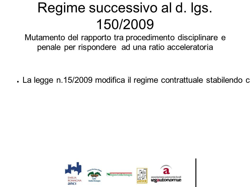 Regime successivo al d. lgs. 150/2009 Mutamento del rapporto tra procedimento disciplinare e penale per rispondere ad una ratio acceleratoria ● La leg