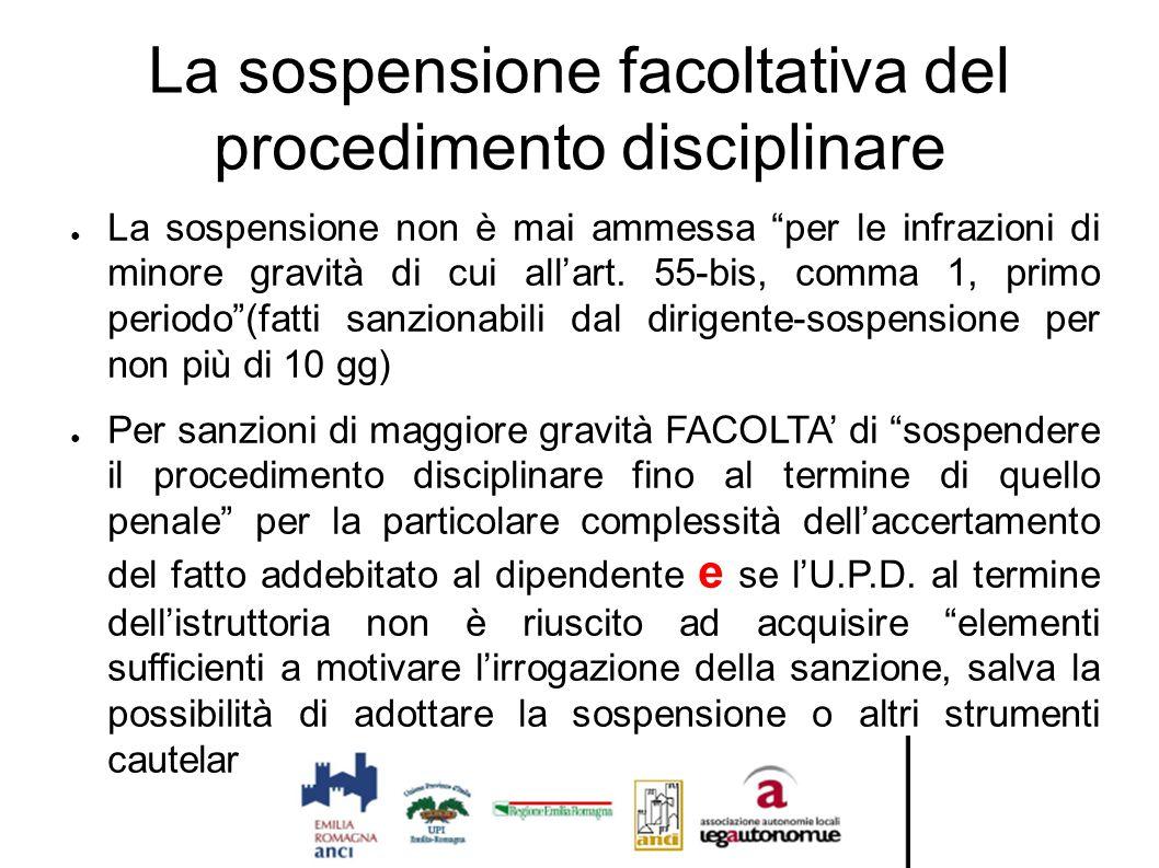 """La sospensione facoltativa del procedimento disciplinare ● La sospensione non è mai ammessa """"per le infrazioni di minore gravità di cui all'art. 55-bi"""