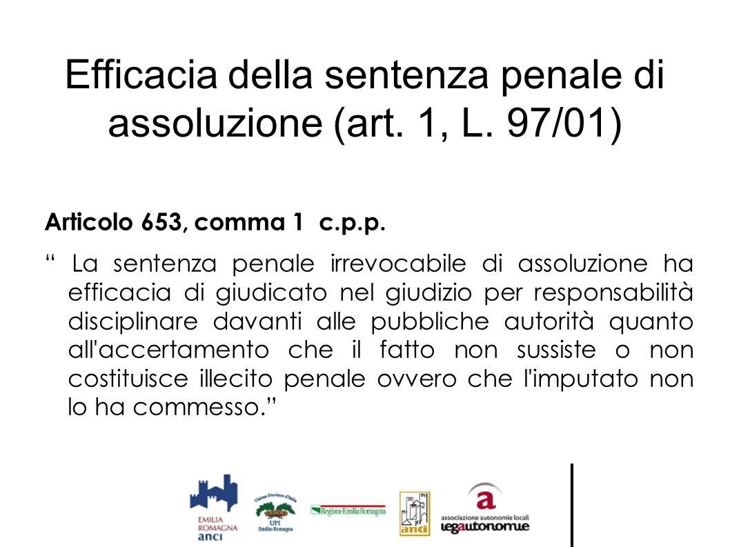 """Efficacia della sentenza penale di assoluzione (art. 1, L. 97/01) Articolo 653, comma 1 c.p.p. """" La sentenza penale irrevocabile di assoluzione ha eff"""