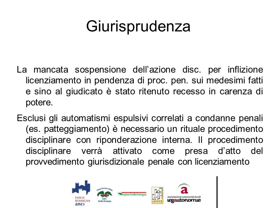 Giurisprudenza La mancata sospensione dell'azione disc. per inflizione licenziamento in pendenza di proc. pen. sui medesimi fatti e sino al giudicato