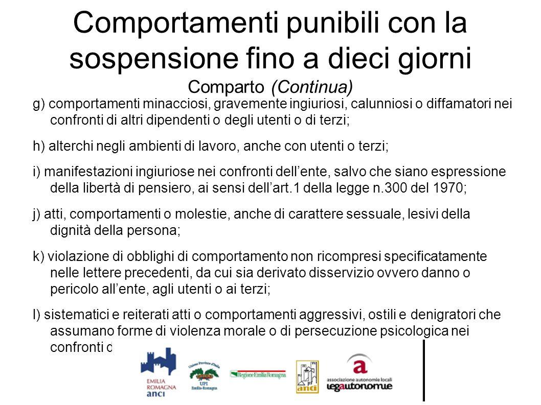 Comportamenti punibili con la sospensione fino a dieci giorni Comparto (Continua) g) comportamenti minacciosi, gravemente ingiuriosi, calunniosi o dif