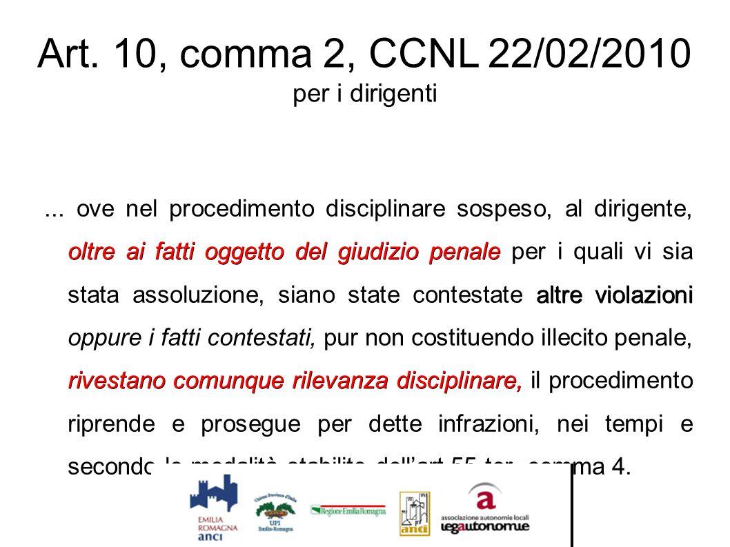 Art. 10, comma 2, CCNL 22/02/2010 per i dirigenti oltre ai fatti oggetto del giudizio penale altre violazioni rivestano comunque rilevanza disciplinar