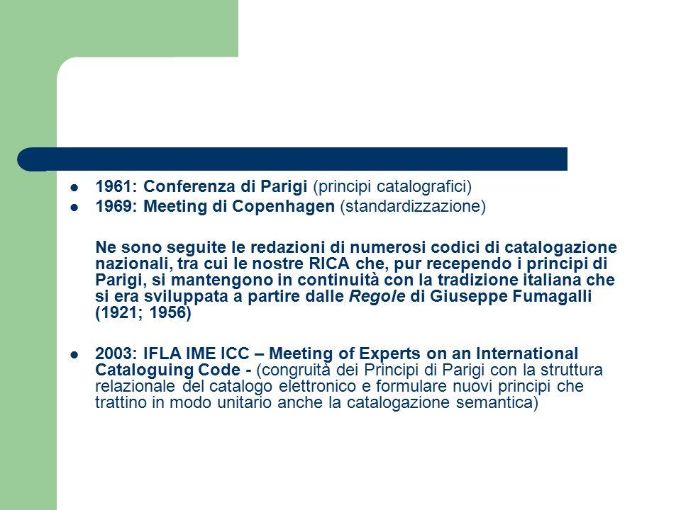 1961: Conferenza di Parigi (principi catalografici) 1969: Meeting di Copenhagen (standardizzazione) Ne sono seguite le redazioni di numerosi codici di