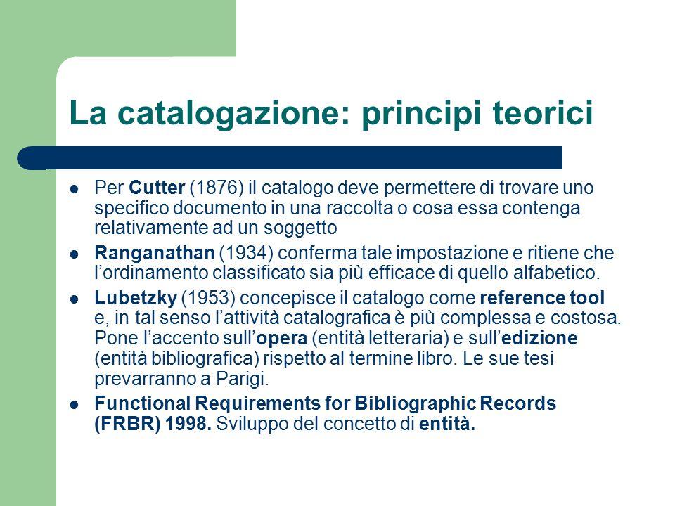 La catalogazione: principi teorici Per Cutter (1876) il catalogo deve permettere di trovare uno specifico documento in una raccolta o cosa essa conten